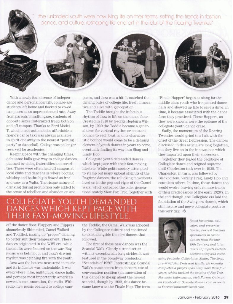 Those Crazy Kids! by Forrest Outman page 29 Jan-Feb edition of American Dancer Magazine.